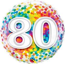 Qualatex Balloons 80 Rainbow Confetti 45cm