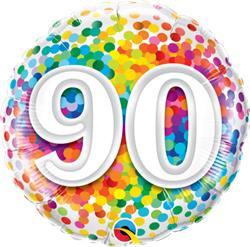 Qualatex Balloons 90 Rainbow Confetti 45cm NEW