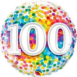 Qualatex Balloons 100 Rainbow Confetti 45cm NEW