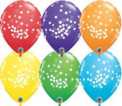 Qualatex Balloons Rainbow Asst Confetti Dots Asst 28cm
