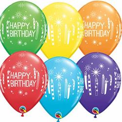 Qualatex Balloons Rainbow Asst Birrthday Candles & Starbursts 28cm NEW