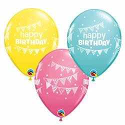 Qualatex Balloons Special Asst Birthday Pennants Asst 28cm