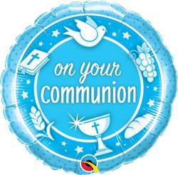Qualatex Balloons On your Communion Blue Unpkgd 45cm