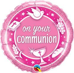 Qualatex Balloons On your Communion Pink Unpkgd 45cm