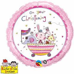 Qualatex Balloons Rachel Ellen On Your Christening Pink 45cm