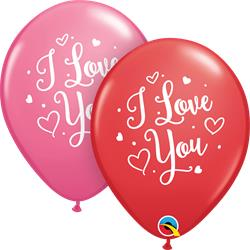 Qualatex Balloons Red & Rose I love You Heart Asst 28cm