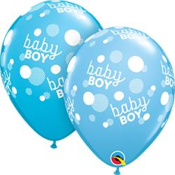 Qualatex Balloons Baby Boy Blue Dots around 28cm