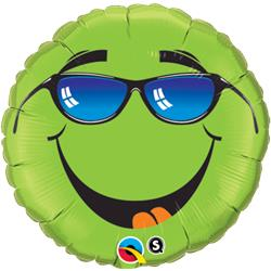 Qualatex Balloons Keep Cool Lime Green Smiley 45cm