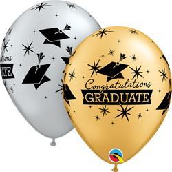 Qualatex Balloons Congratulations Graduste Cap Silver and Gold 28cm