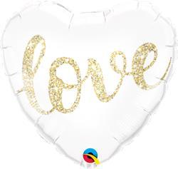 Qualatex Balloons Love Glitter Gold 45cm