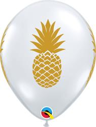 Qualatex Balloons Gold Pineapple on Diamond Clear 28cm
