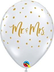 Qualatex Balloons Mr & Mrs Gold Dots D/clear 28cm