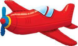 Red Vintage Plane Helium Shape 91cm
