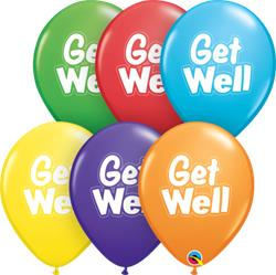 Qualatex Balloons Get Well Dashed Outlined 2 sided print