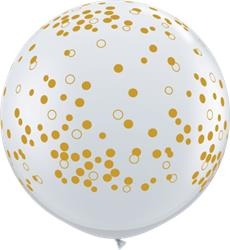 Qualatex Balloons Confetti Dots Diamond Clear w Gold Dots 90cm