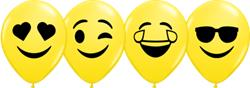 Qualatex Balloons Yellow Smilay Faces Asst 12cm