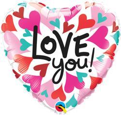 Qualatex Love You Converging Hearts 23cm