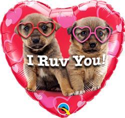 Qualatex I Ruv You - Puppies 23cm