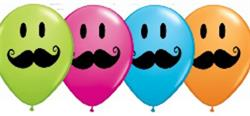 Qualatex Balloons Smile Face Moustache Special Assortment 28cm