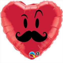 Qualatex Balloons Mr Moustache Red Heart 45cm