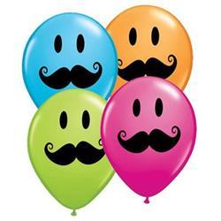 Qualatex Balloons Smile Face Moustache Special  Asst 12cm