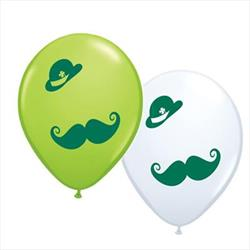 Qualatex Balloons St Patricks Derby & Moustache 28cm 25 count