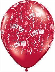 Qualatex Balloons I Love You Around Ruby Red 28cm.