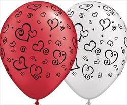 Qualatex Balloons Swirl Hearts Asst Ruby Red & Pearl White with Black Ink 28cm