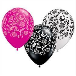 Qualatex Balloons Damask Print Around Asst 28cm