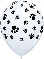 Qualatex Balloons Paw Prints Around White 28 cm