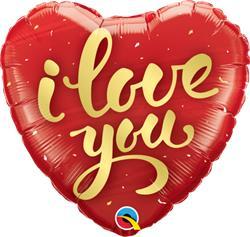 Qualatex Balloons  I Love you Gold Script 45cm