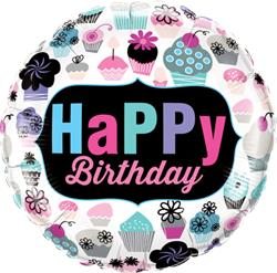 Qualatex Foil Happy Birthday Supcakes Emblem  45cm