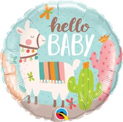 Qualatex Foil Hello Baby Llama 45cm