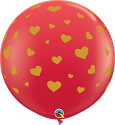 Qualatex Balloons Red Random Hearts Around Gold 90cm