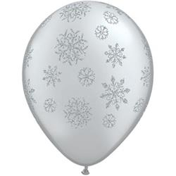 Qualatex Balloons Glitter Snowflakes Around on Silver 28cm 25cnt
