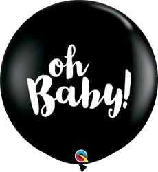 Qualatex Balloons Oh Baby Onyx Black 90cm