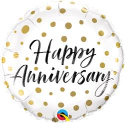 Qualatex Foil Happy Anniversary Gold Dots 45cm