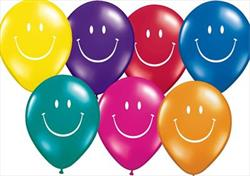 Qualatex Balloons Smile Face 1 sided J/Tone Asst 28cm