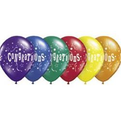 Qualatex Balloons Congratulations Stars Radiant Jewel Tone Asst 28cm