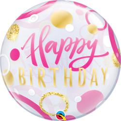 Bubble Birthday Pink and Gold Dots 55cm