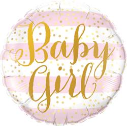Qualatex Balloons Baby Girl Pink Stripes 45cm