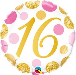 Qualatex Balloons 16 Birthday Pink and Gold Dots 45cm