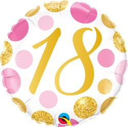 Qualatex Balloons 18 Birthday Pink and Gold Dots 45cm