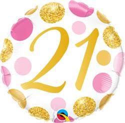Qualatex Balloons 21 Birthday Pink and Gold Dots 45cm