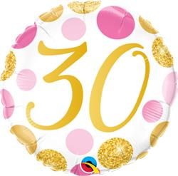 Qualatex Balloons 30 Birthday Pink and Gold Dots 45cm