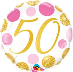 Qualatex Balloons 50 Birthday Pink and Gold Dots 45cm