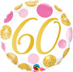 Qualatex Balloons 60 Birthday Pink and Gold Dots 45cm