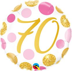 Qualatex Balloons 70 Birthday Pink and Gold Dots 45cm