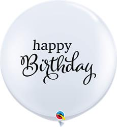 Qualatex Balloons Simply Happy Birthday White 90cm