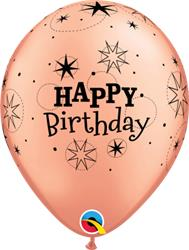 Qualatex Balloons Rose Gold Birthday Sparkle A -Round 28cm